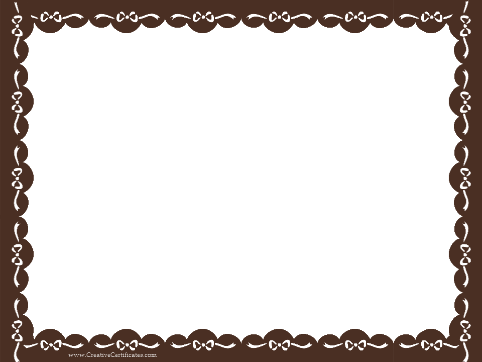 Certificate borders png. Brown border template