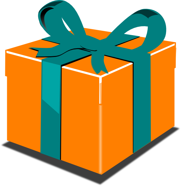 Gift clipart. Orange green clip art