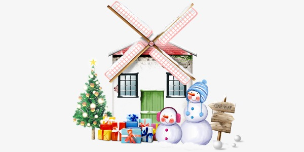 Gift clipart house png. Christmas snowman creative windmill