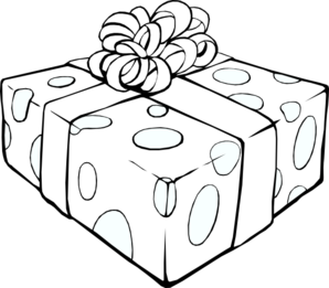 Drawing present gift wrap. Outline clip art at