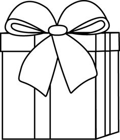 Gift clipart outline. Christmas present pattern use