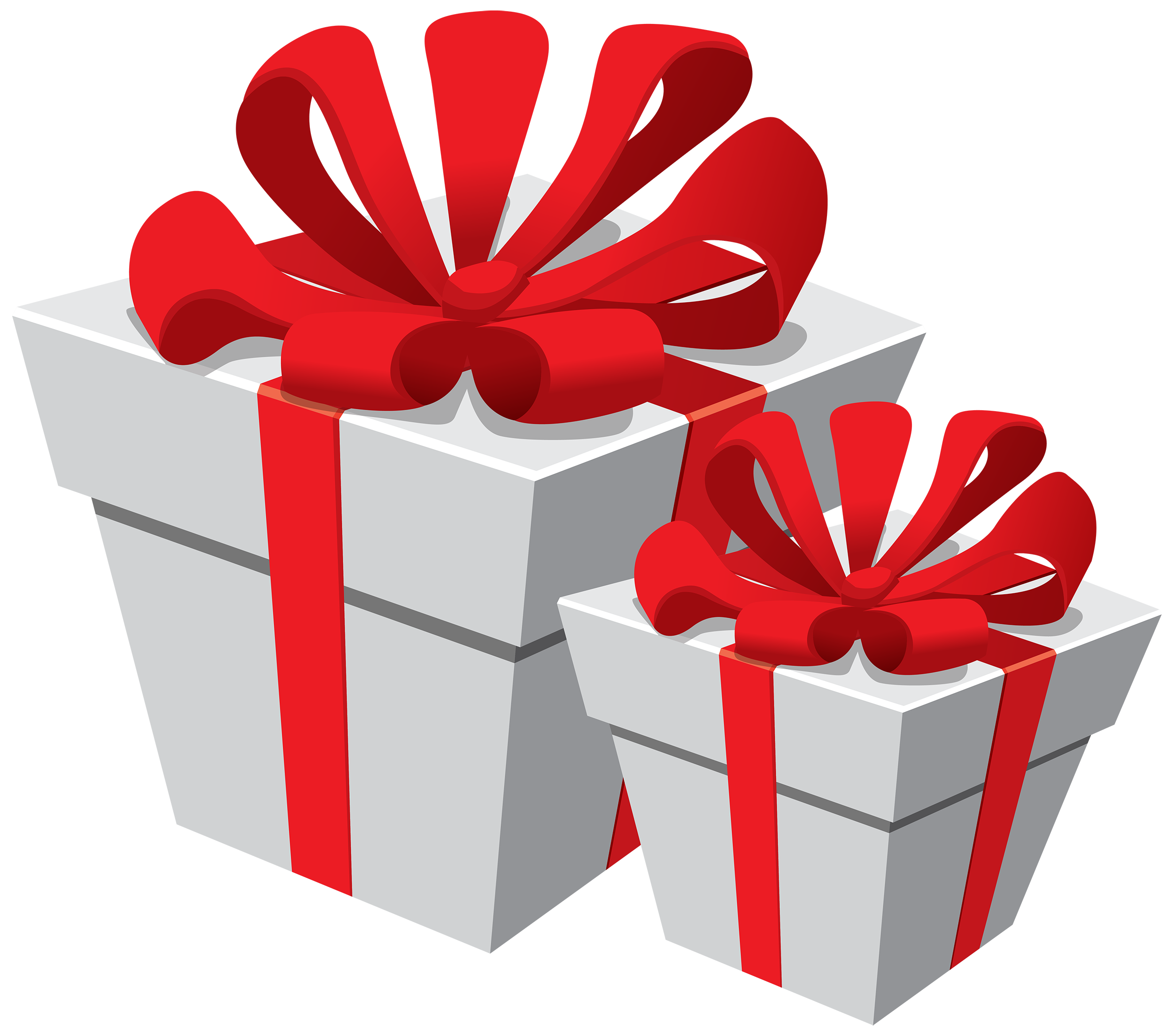 Gift boxes png. White with red bow