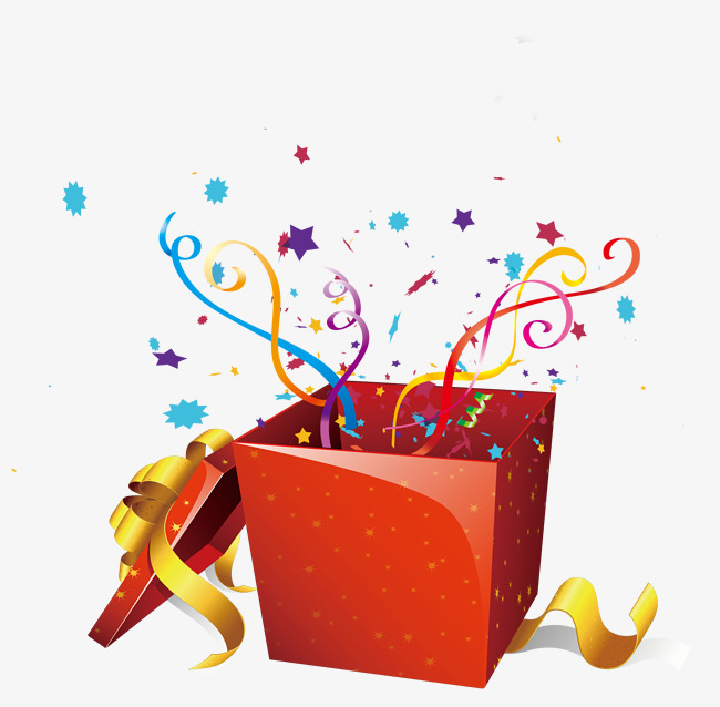 Gift clipart surprise. Red ribbon fireworks box