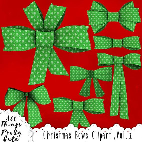 Gift clipart thing. Christmas bows in green