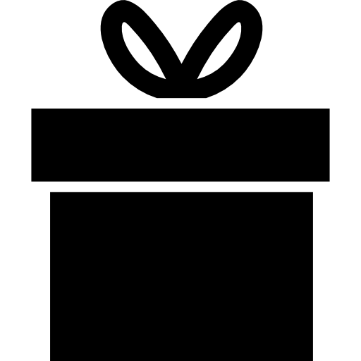 Gift silhouette png. Box with ribbon bow