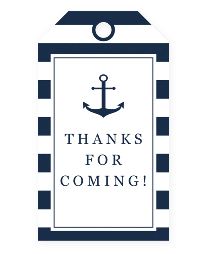 Gift tag template png. Nautical baby shower favor
