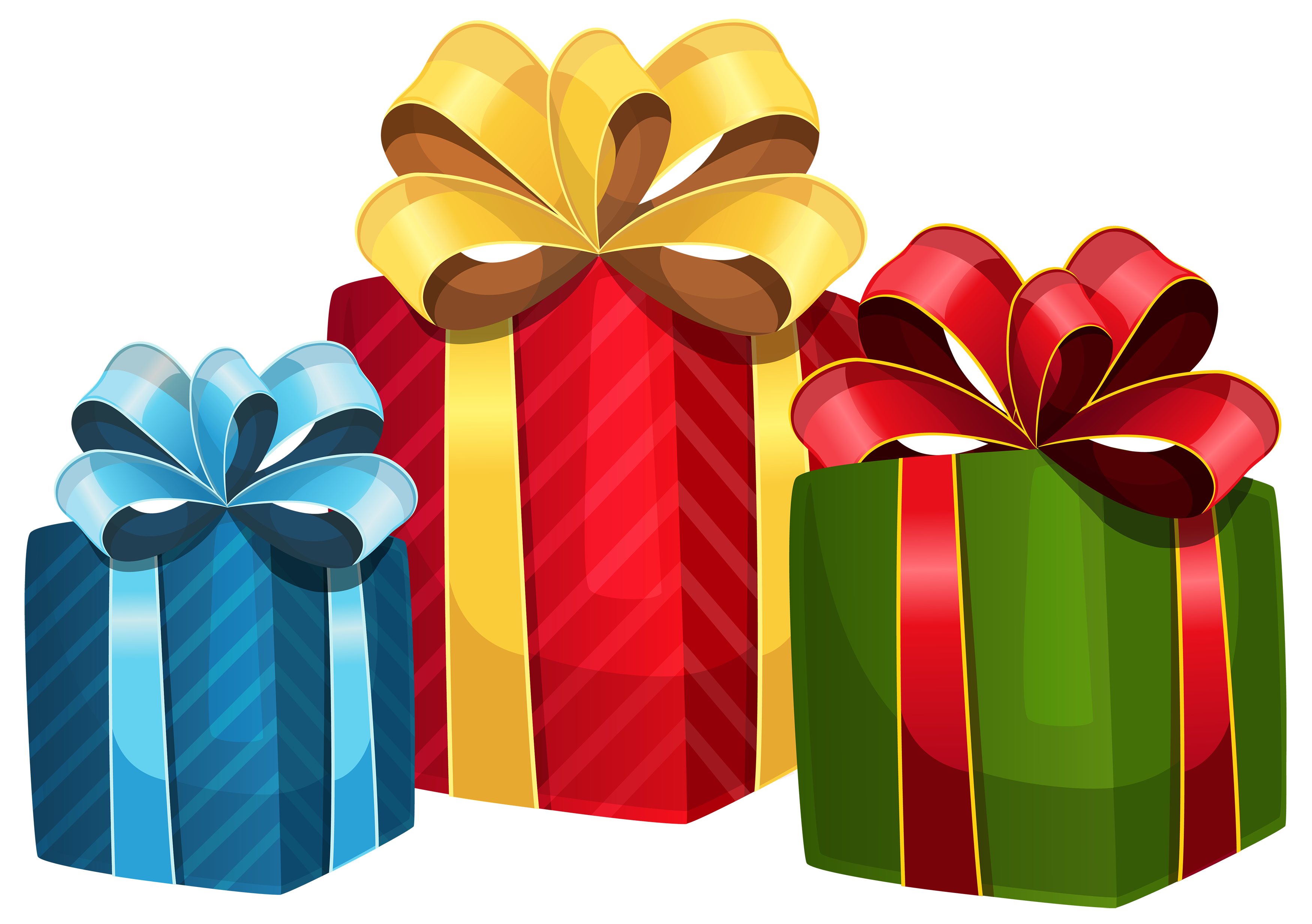 Vector present gift packaging. Colorful boxes png clipart