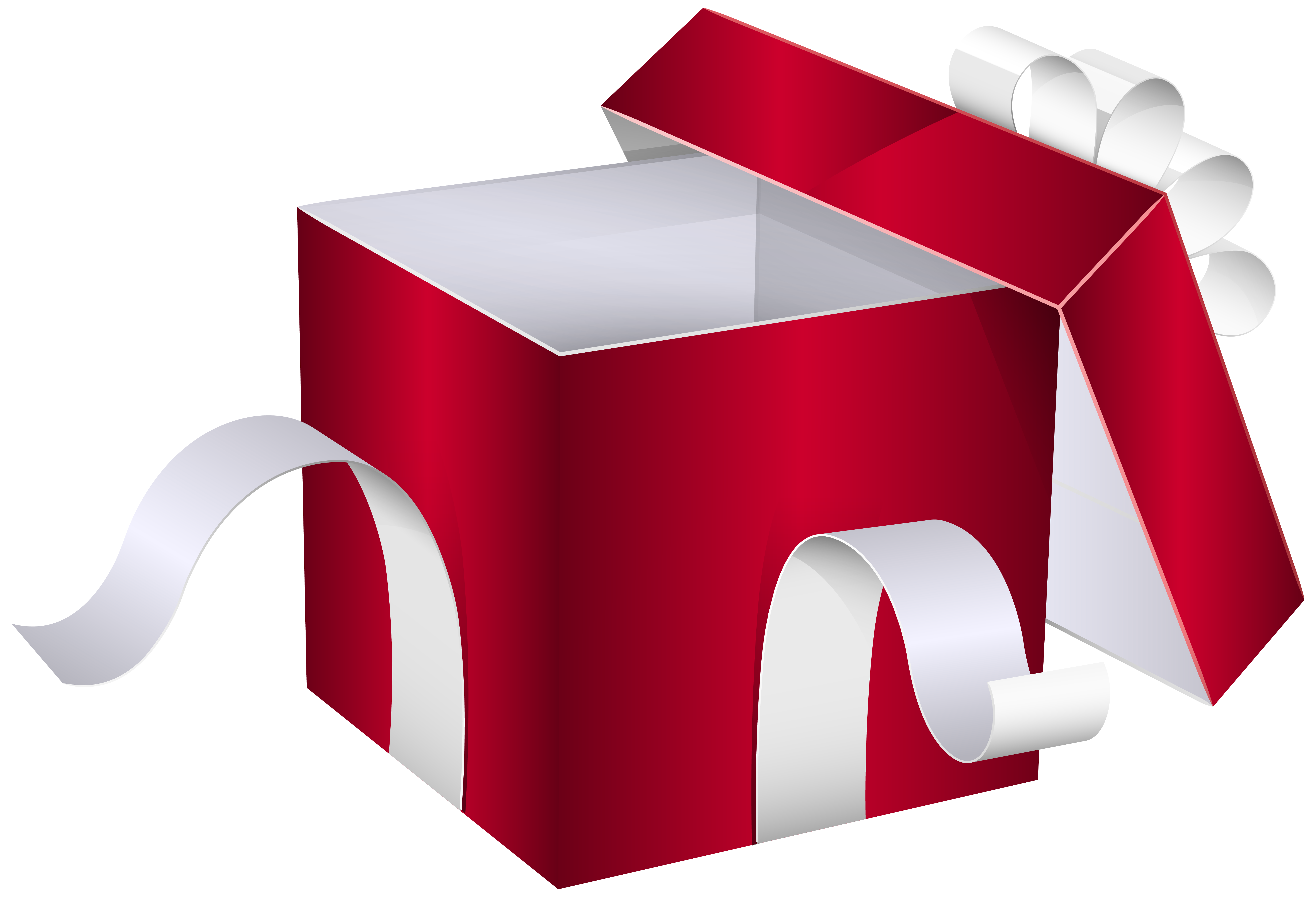 Open christmas present png. Red gift box clipart