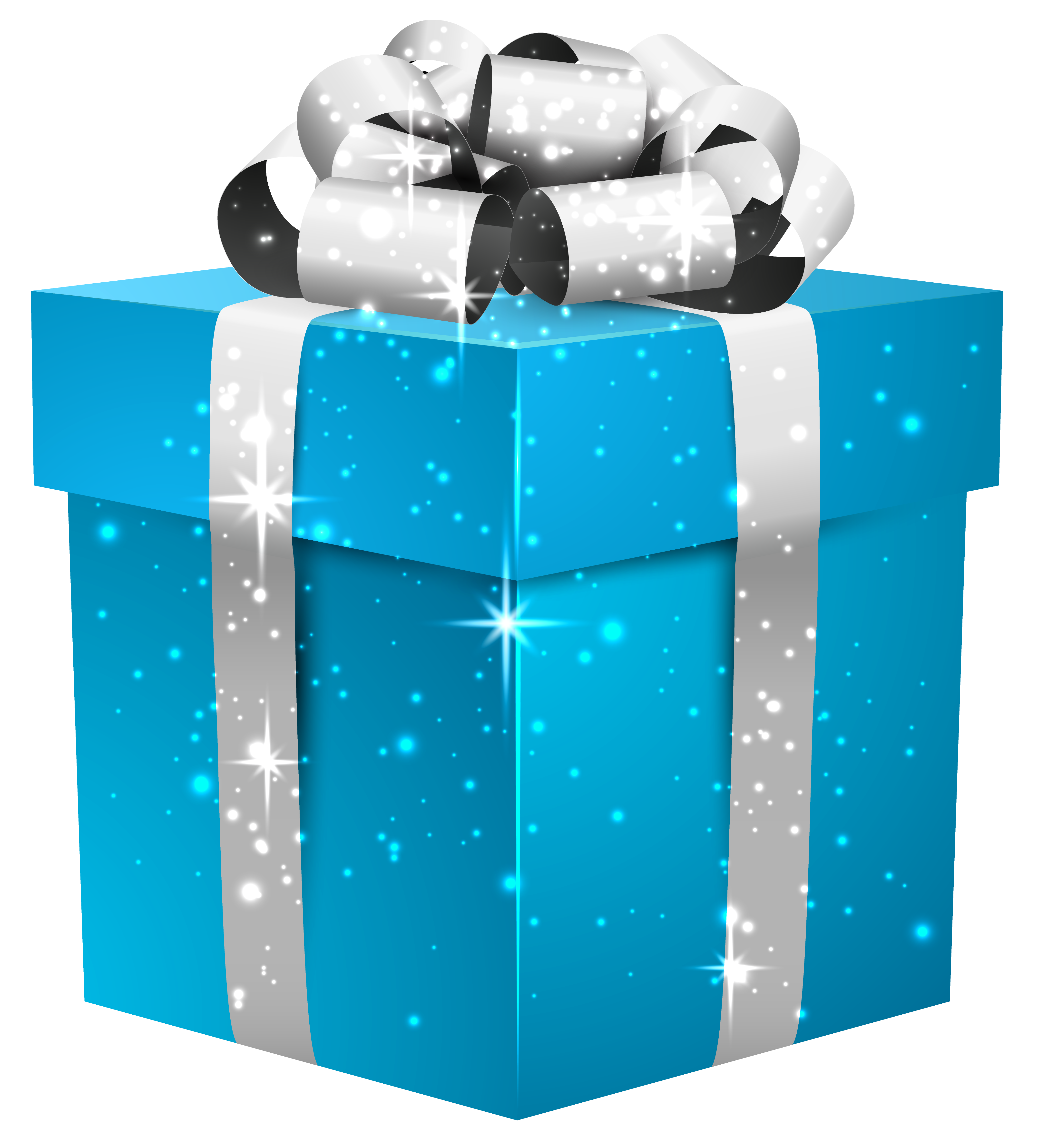 Blue gift box png. Shining with silver bow