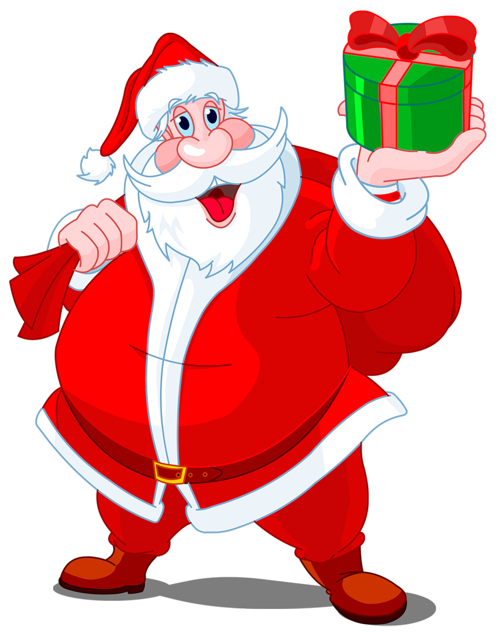 Claus clipart santa claus. Transparent with green gift