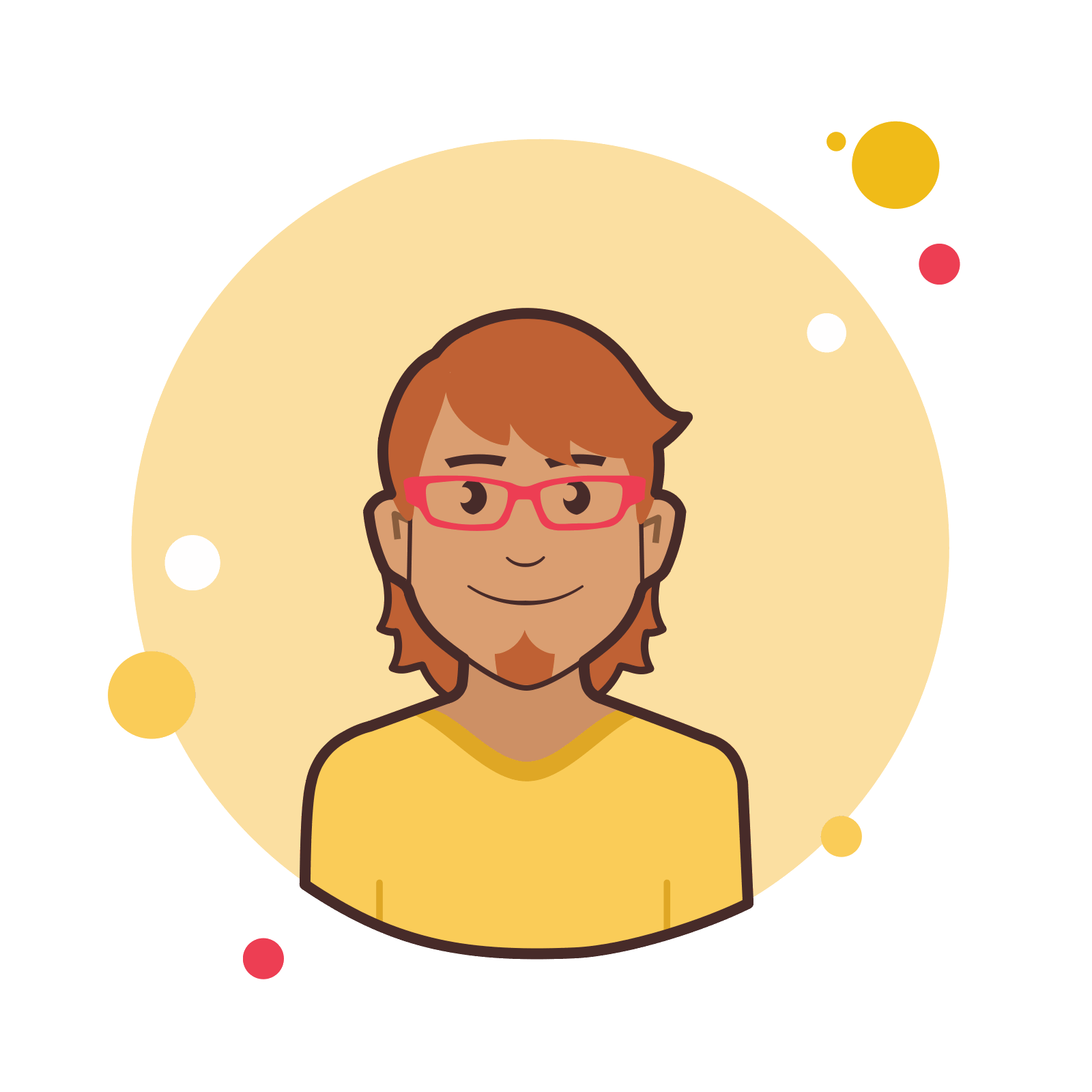 Ginger vector red. Man in glasses icon