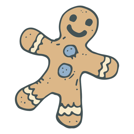 Gingerbread man gangster vector png. Hand drawn cartoon icon