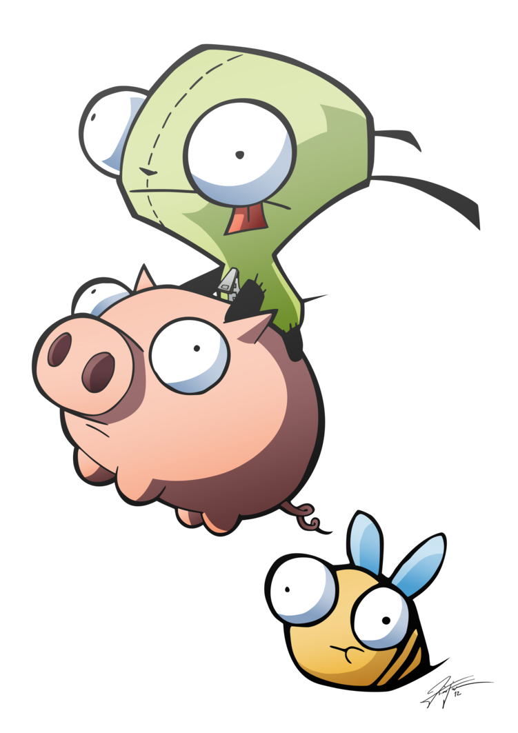 Invader zim and piggy. Gir drawing image freeuse stock