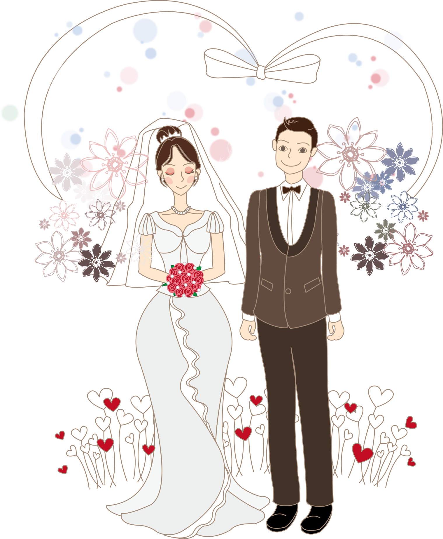 Gir drawing couple. Cartoon bride wedding illustration