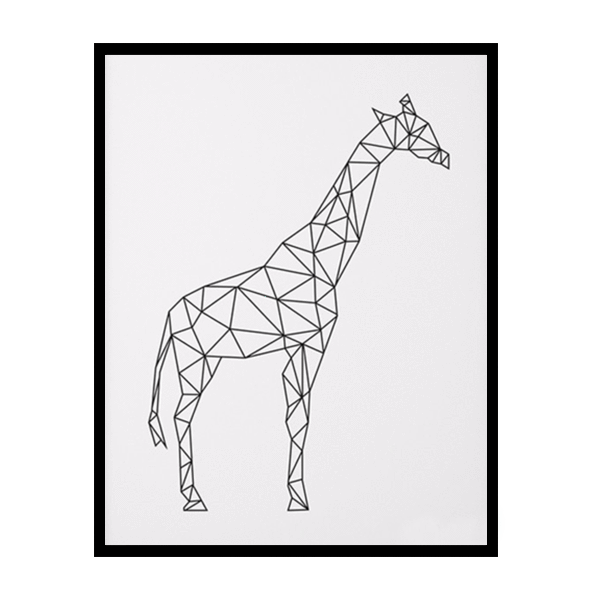 Vector giraffe geometric. Canvas art print petite