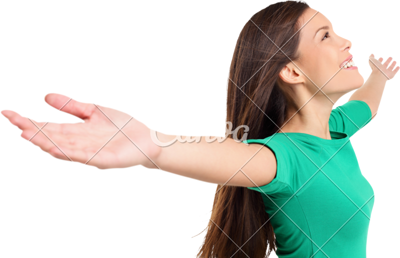 Girl arms png. Free happy elated woman