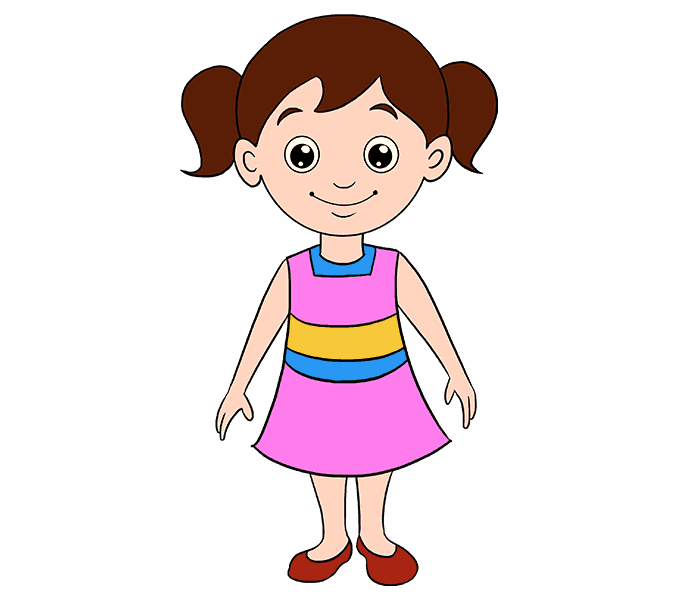 Drawing girl child sketch. Girls transparent cartoon jpg free library