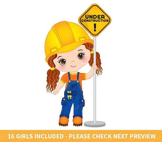 girl clipart construction