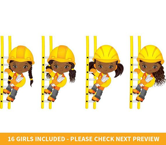 Girl clipart construction. Girls vector african american