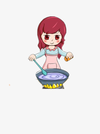 Girl clipart cooking. Apron soup food png