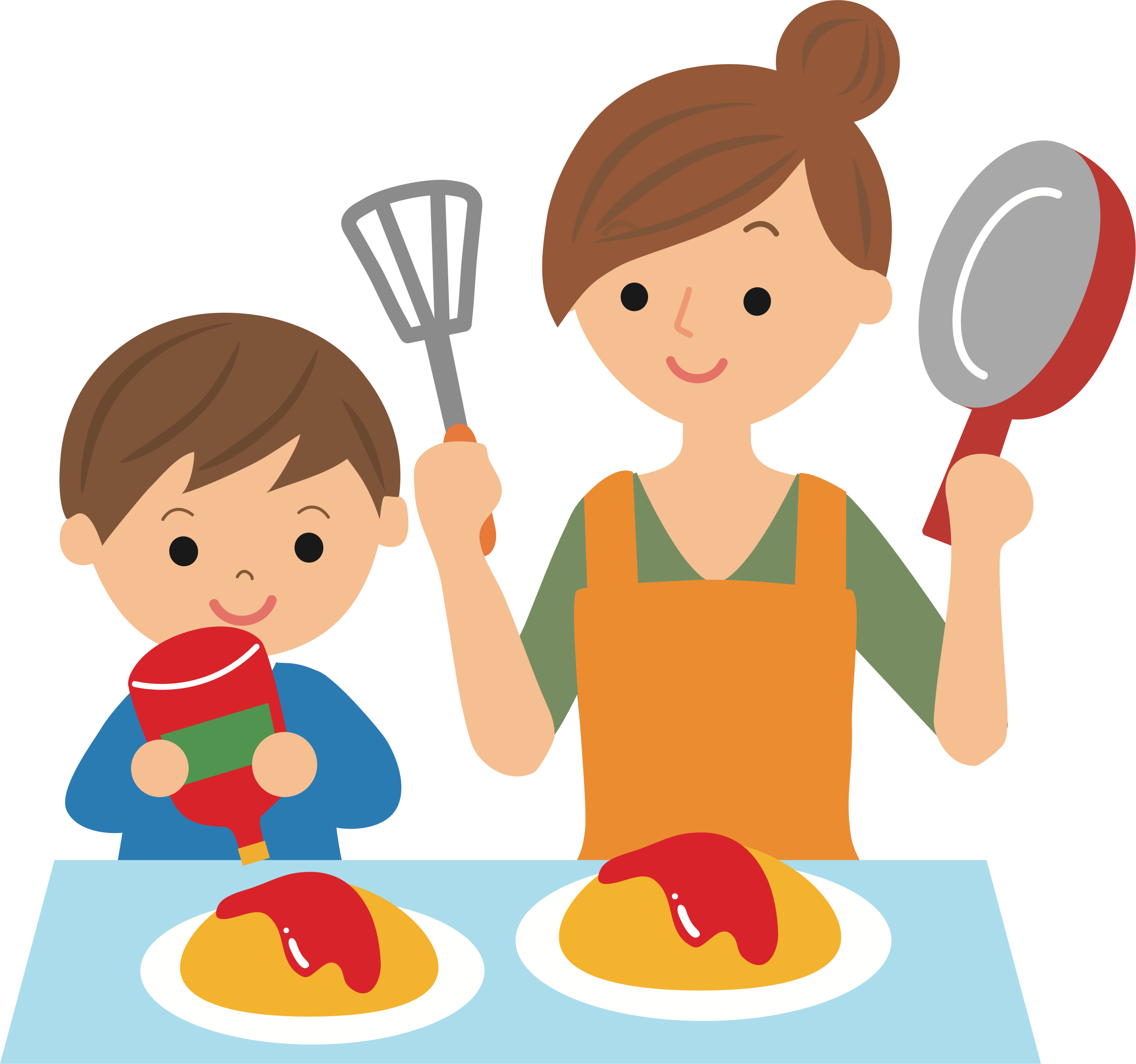 Cooking with big image. Mother clipart kitchen clipart vector royalty free