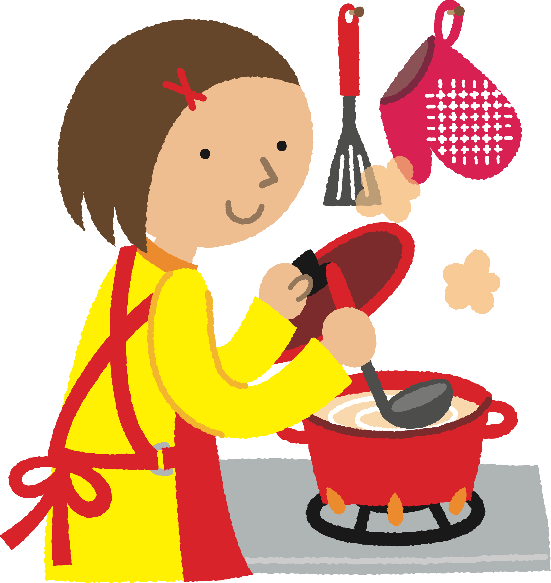 Kitchen clip cartoon. Clipart woman cooking big