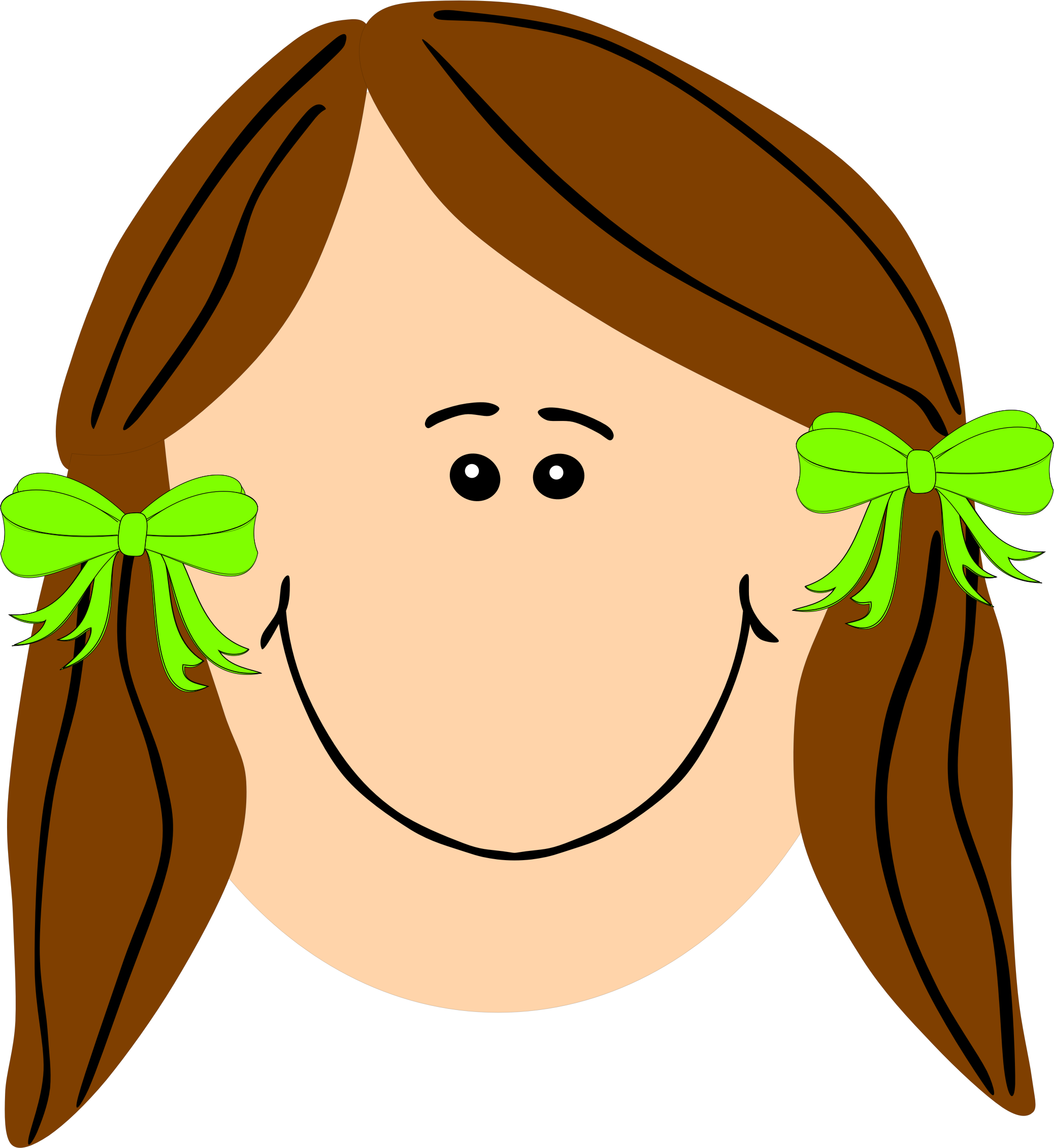 Girl clipart long hair. With brown big image