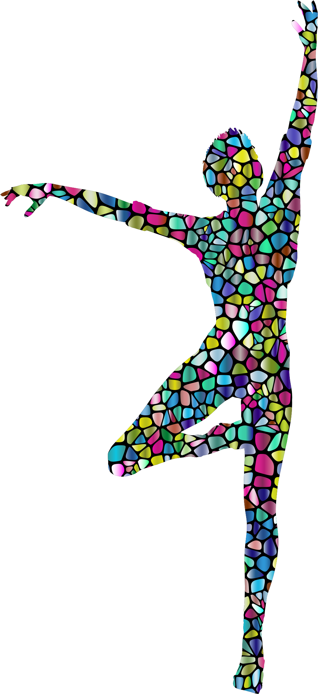 Girl dancing silhouette png. Clipart polyprismatic tiled woman