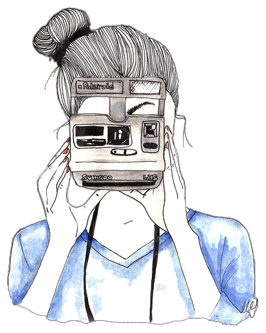 Girl drawing png. With polaroid camera transparent