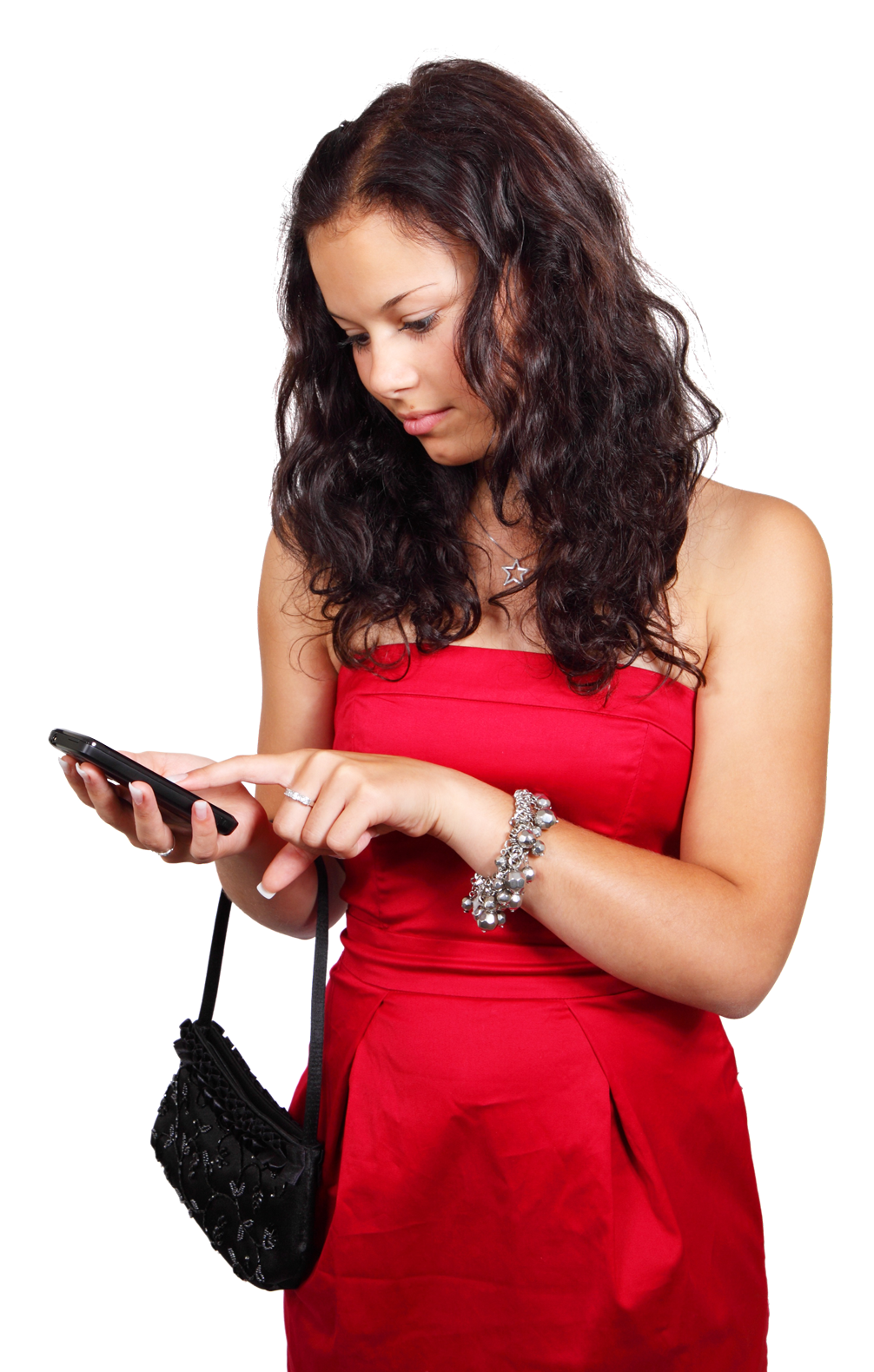 Girl on phone png. With mobile image