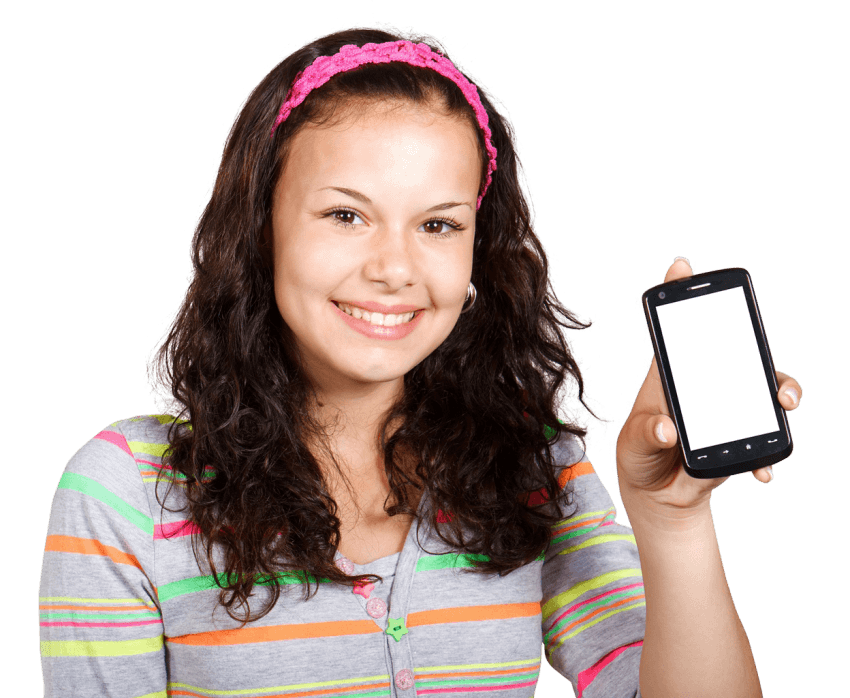 Girl on phone png. With mobile free images