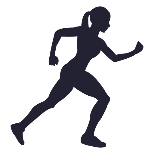 Girl running png. Silhouette transparent svg vector