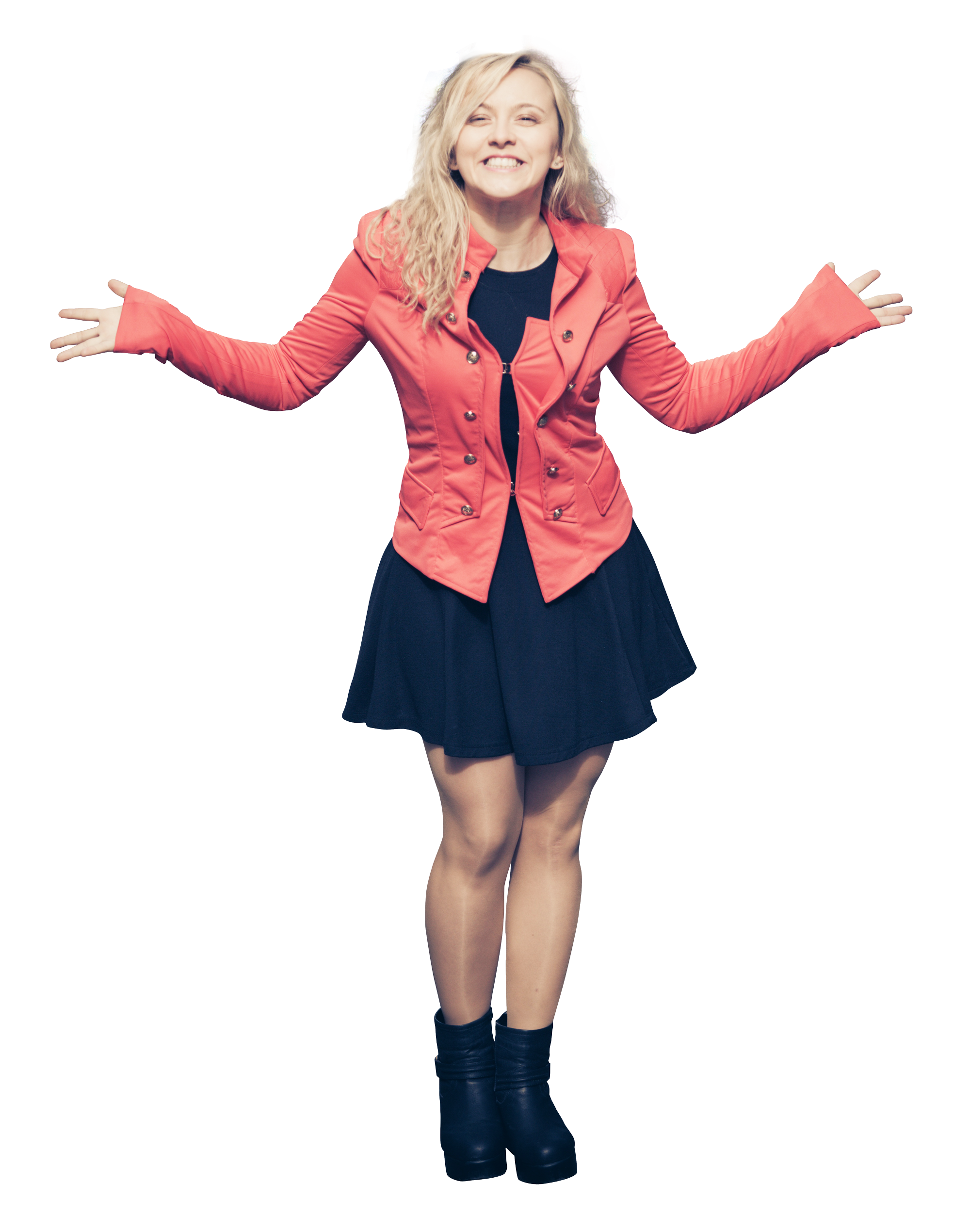 Girl standing png. Happy young woman in