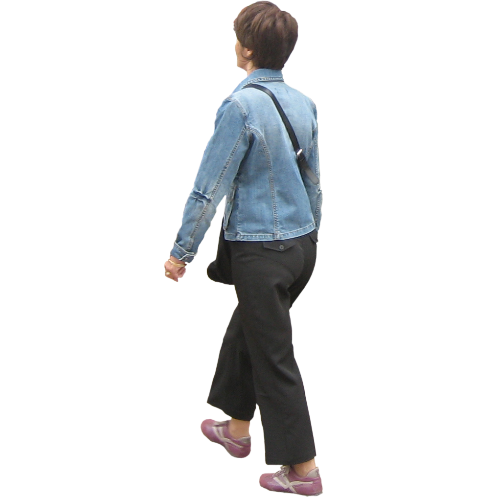 Woman walking away png. With purse by immediate
