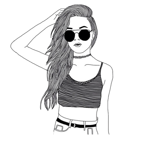 Girls transparent hipster. Collection of drawing