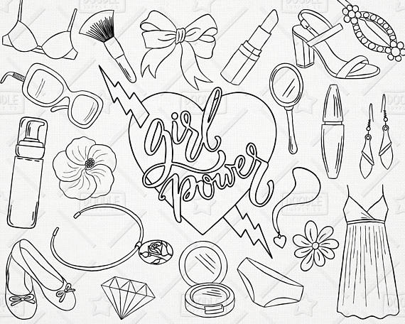 Girly clipart girly stuff. Doodle girl power vector