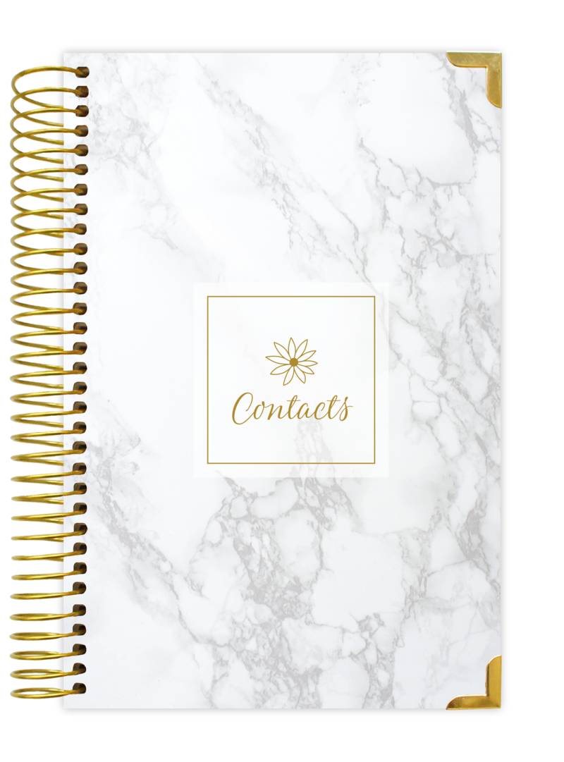 Notebook transparent marble. Contact address book bloom