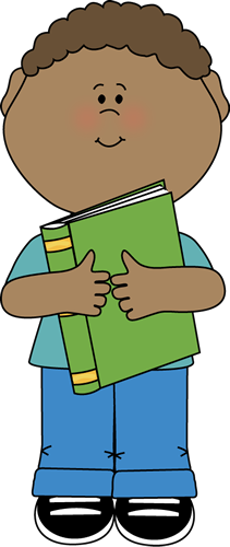 Hugging clipart. Boy with book