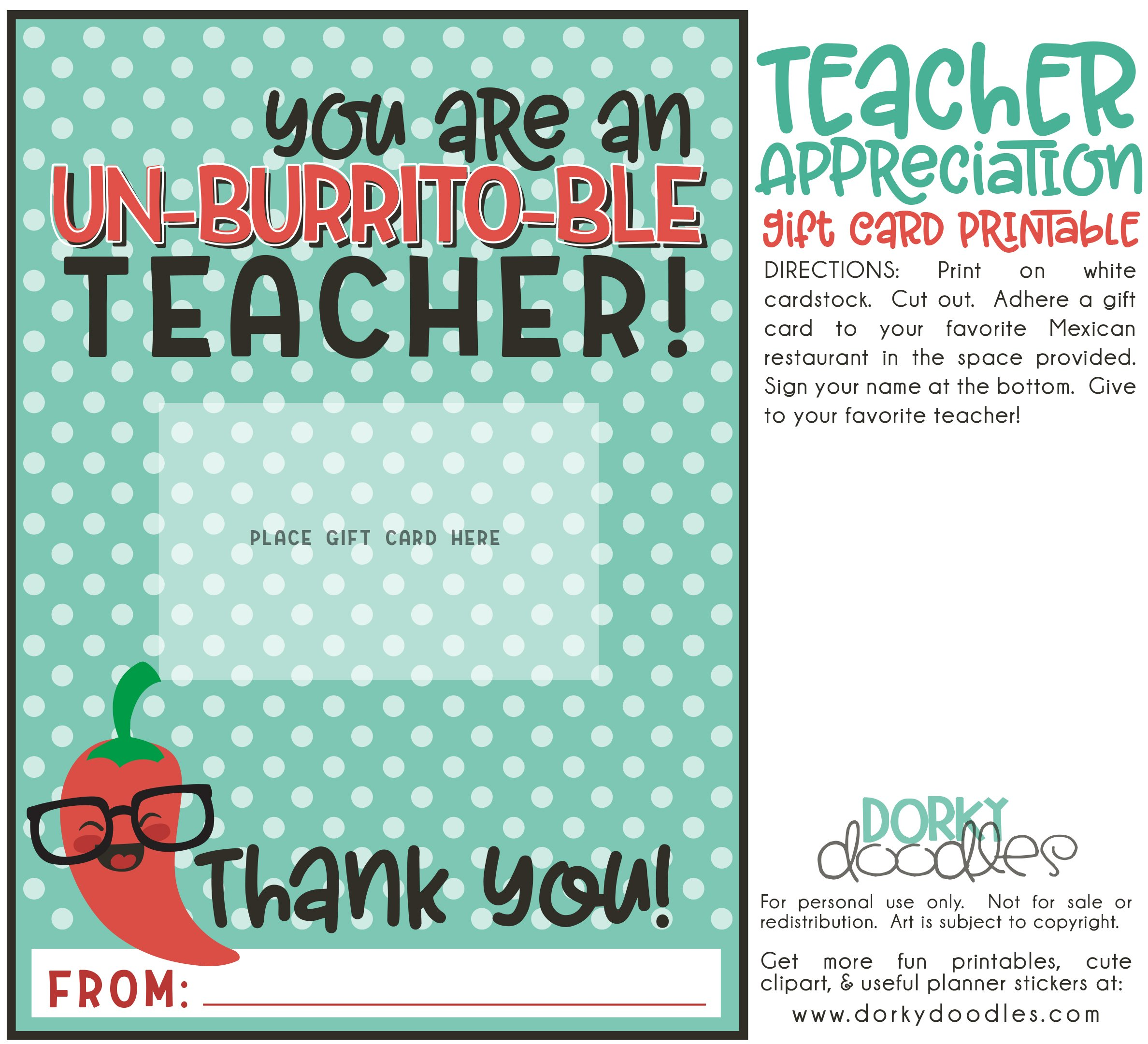 Give clipart teacher gift. Appreciation card printable dorky