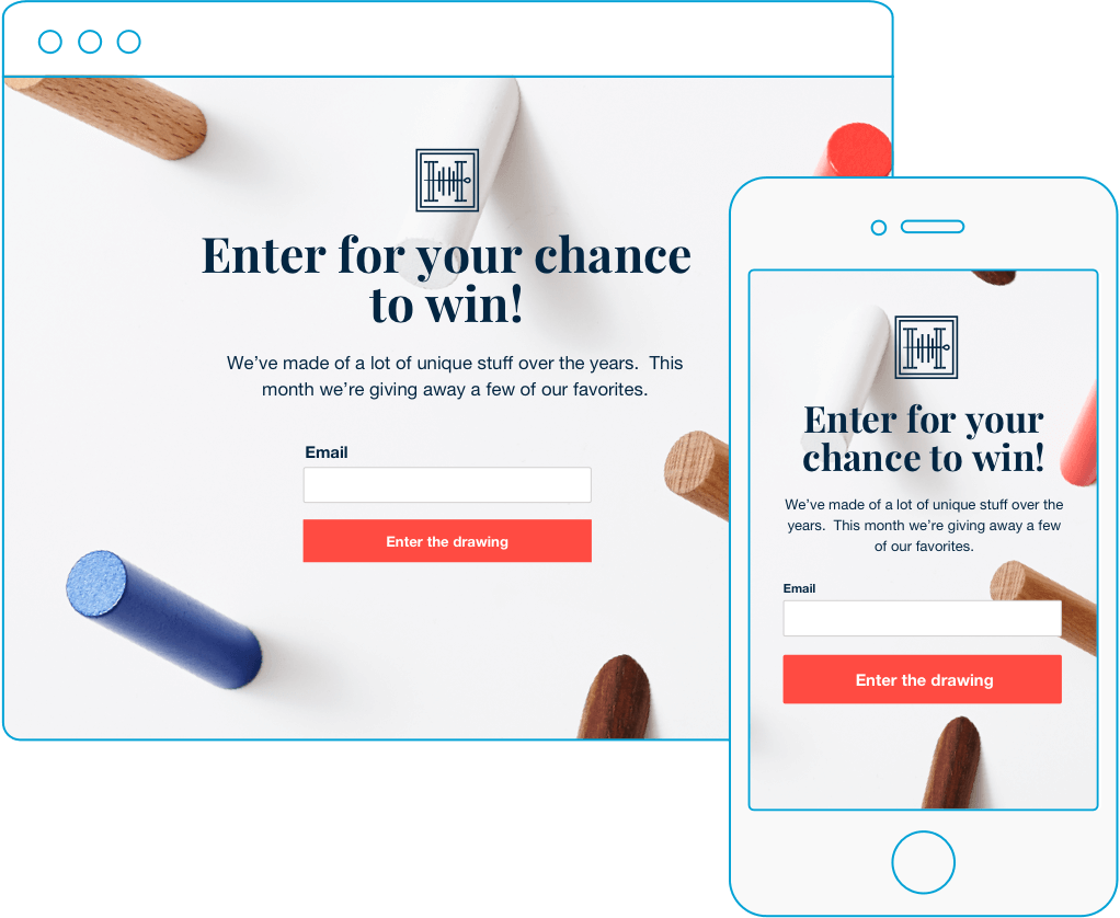 Giveaway drawing product. Free landing pages creator