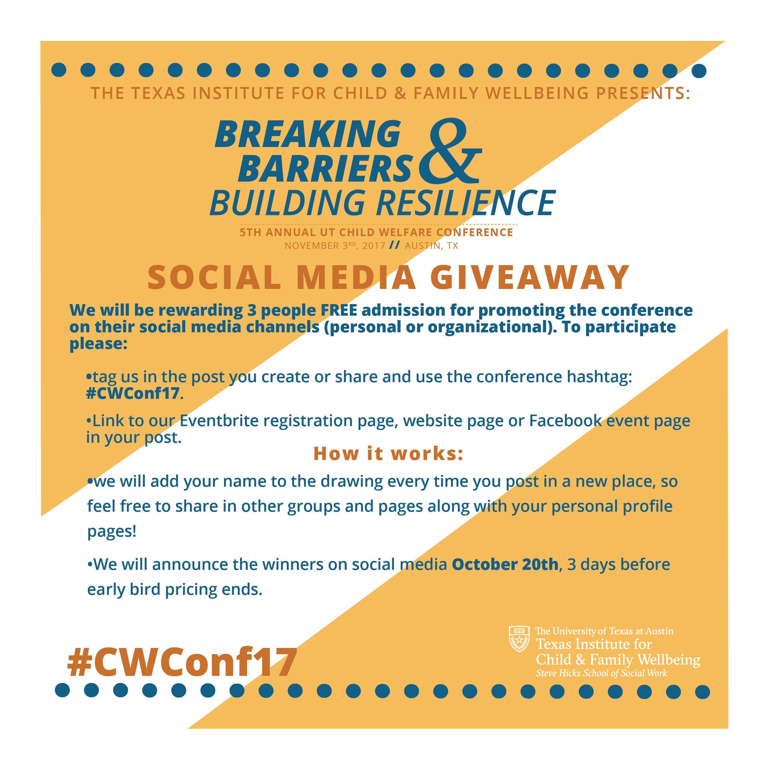 Giveaway drawing social media. Cwconf toolkit texas institute