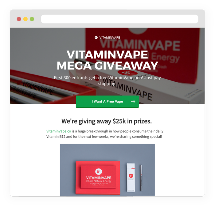 Giveaway transparent free product. Vyper grow your business
