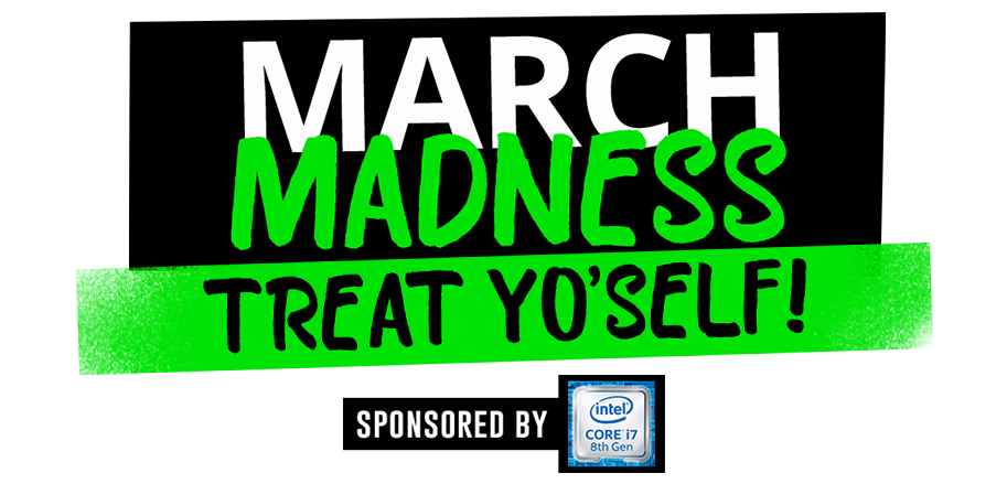 Giveaway transparent march. Madness treat yoself logo