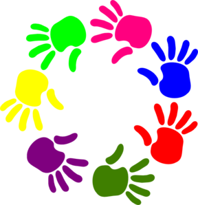 Handprint clipart multi colored. Giving hands panda free