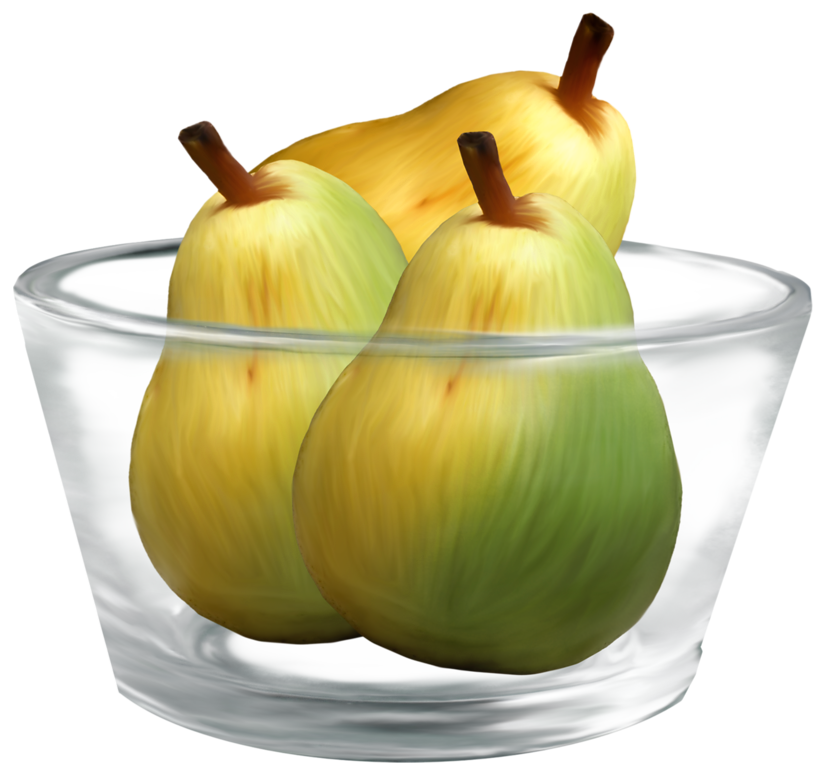 Fruits transparent glass. Pears in a bowl