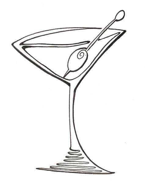 Glass clipart martini glass. Cartoon blog line art