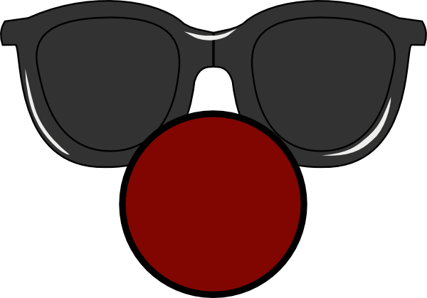 Clown nose png. With clear glasses clip