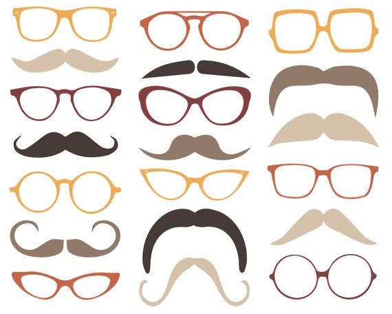 Mustache clipart eyewear. Vintage and glasses clip