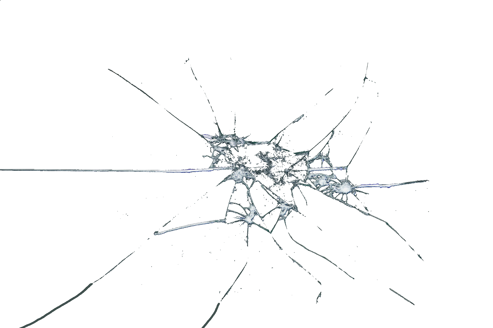 Transparent cracks screen. Cracked glass png image