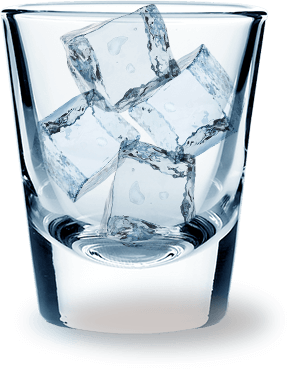 Vodka glass png. Ice cubes in transparent